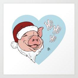 Pig in Santa costume Art Print