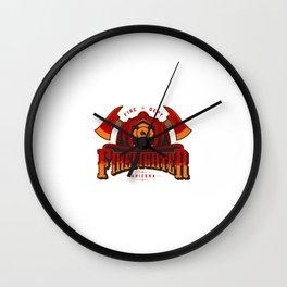 Plantilla Colorida Logotipo Bombero Vintage Ejes Cruzados Craneo Casco Bombero Ilustracion Negro Wall Clock