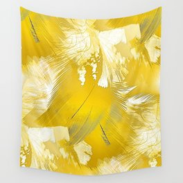 Golden Feathers Wall Tapestry