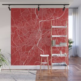 Worcester Map, USA - Red Wall Mural