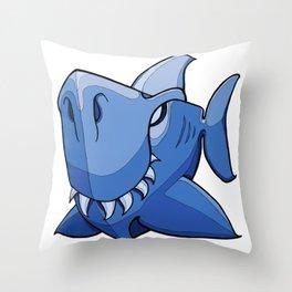 Shark - Little Boy Blue Throw Pillow