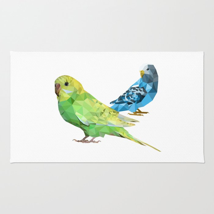 Geometric green and blue parakeets Rug