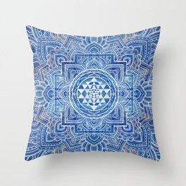 Sri Yantra  / Sri Chakra Blue Watercolor Throw Pillow