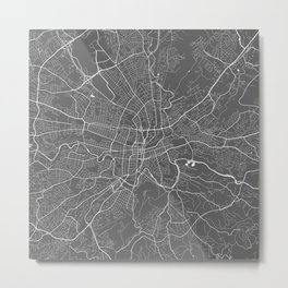 Roanoke USA Modern Map Art Print Metal Print