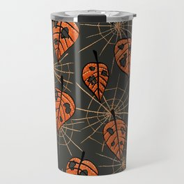 Orange Leaves With Holes And Spiderwebs Travel Mug