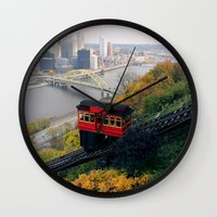 steelers Wall Clocks featuring An Autumn Day on the Duquesne Incline in Pittsburgh, Pennsylvania by Ed Lightcap