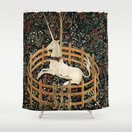 Unicorn Fenced in Garden Medieval Tapestry Shower Curtain