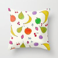 fruits Throw Pillows featuring Fruits! by Niche Drawings