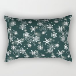Snowflakes on dark green Rectangular Pillow