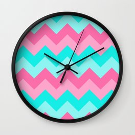 Hot Pink Turquoise Aqua Blue Chevron Zigzag Pattern Print Wall Clock
