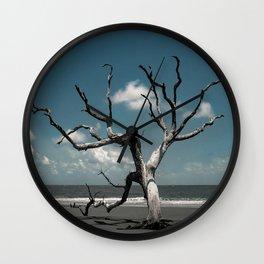 Tree on Shore of the Boneyard at Bull Island Wall Clock