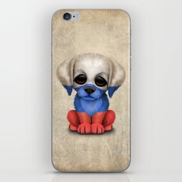 Cute Puppy Dog with flag of Russia iPhone Skin