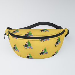 Christmas Le Chat Noir With Santa Hat Fanny Pack