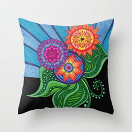 Sunburst Flowers Throw Pillow