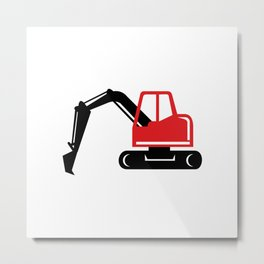 Mechanical Excavator Digger Retro Icon Metal Print