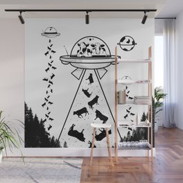 Alien cow abduction Wall Mural