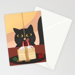 Carb Fiend aka Hungry Cat Eating Pancakes Stationery Cards