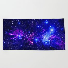 Fox Fur Nebula Galaxy blue purple Beach Towel
