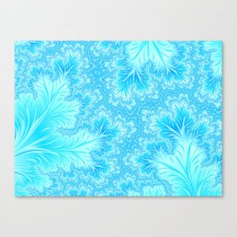Abstract Christmas Aqua Blue Branches. Cute nature pattern Canvas Print