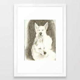 white dogs Framed Art Print