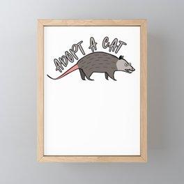 Possum Adopt A Cat Ugly Opossum Lovers Vintage Gift Framed Mini Art Print