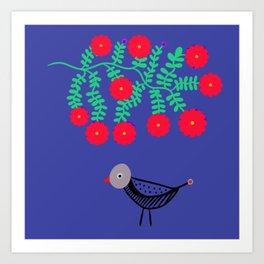 Bird Under Cherry Tree Art Print