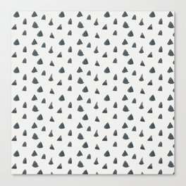 Hand painted black gray watercolor geometrical triangles Canvas Print
