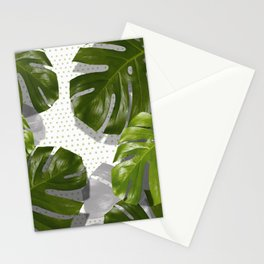 """""""Monstera plant on polka dots and white"""" Stationery Cards"""