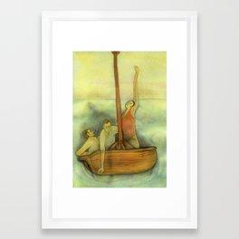 Three lost in a ship Framed Art Print