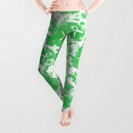 Green Watercolor Ink Splashes Cause Ribbons Leggings