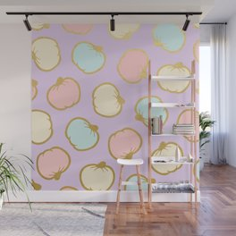 Pastel Pumpkin Pattern with Gold Wall Mural