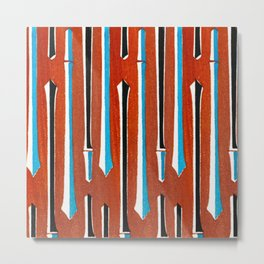 Minimal Abstract Geometric Forms On Red Background Metal Print