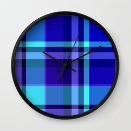 Blue Plaid Pattern Wall Clock
