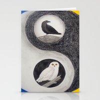 yin yang Stationery Cards featuring  Yin & Yang  by Owl Art Suri