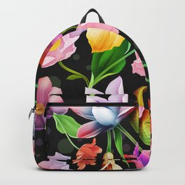 Bold & Bright Colored Tropical Flowers on Black Background Backpack