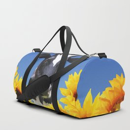 Cow black and white with sunflowers Duffle Bag