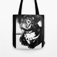 pug Tote Bags featuring Pug by Falko Follert Art-FF77