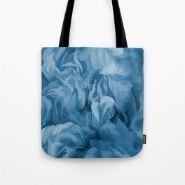 Midnight Blue Petal Ruffle Abstract Tote Bag