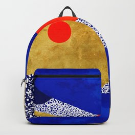 Terrazzo galaxy blue night yellow gold orange Backpack