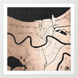 New Orleans Rose Gold and Black Map Art Print