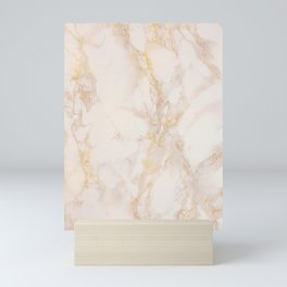 Gold Marble Natural Stone Gold Metallic Veining Beige Quartz Mini Art Print