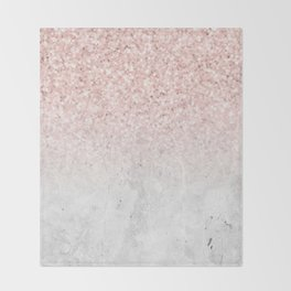 She Sparkles Rose Gold Pink Concrete Luxe Throw Blanket