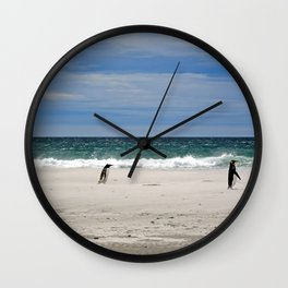 Penguins on the Beach Wall Clock