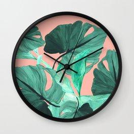 Jungle Foliage (Peach) Wall Clock