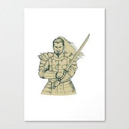 Samurai Warrior Swordfight Stance Drawing Canvas Print