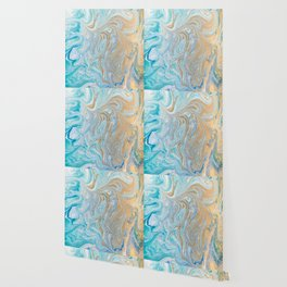 Marble turquoise gold silver Wallpaper