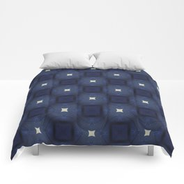 Blue and White Square Pattern Comforters