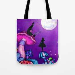 Alice in Wonderland and Caterpillar Tote Bag