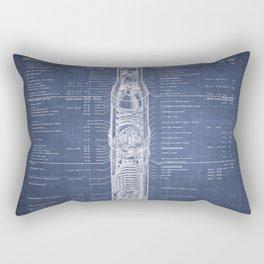 Apollo 11 Saturn V Blueprint in High Resolution (dark blue) Rectangular Pillow