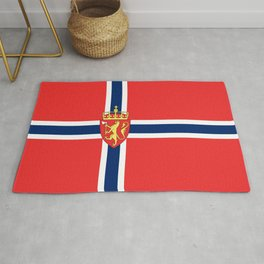 Flag of Norway Scandinavian Cross and Coat of Arms Rug